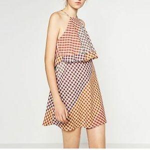 🔥 Zara Halter Neck Gingham Summer Dress